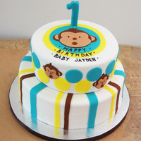 Boy Mod Monkey  all hand cut (minus the curcles, i used round cutters for that but you know what i mean....) chocolate and vanilla layer cake with dark...