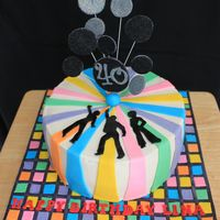 Disco Cake Disco themed cake on checkerboard 'dance' floor.
