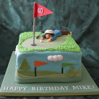40Th Birthday Golfer A 40th birthday cake for a golf fan. Inspiration from various Cakecentral.com photos. Golfer is made of fondant/tylose mix.