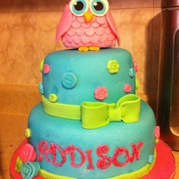 Baby Shower Owl Cake  A cake I made for my cousin's baby shower. They decorated the nursery in owls, so I pulled some inspiration from there. The owl topper...