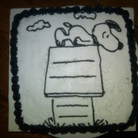 Peanuts Snoopy Cake   Snoopy black and white cake, all buttercream