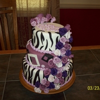 For My Daughter   3 tiered, art deco / zebra w/ cascade of roses