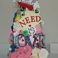 All You Need Is Love 7 tiered sponge cakes with a crazy design