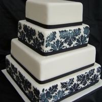 Black And White Damask Cake   I made this cake for a wedding fair in Cambridge UK