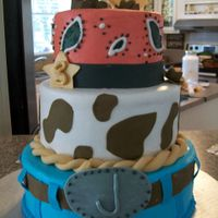 Cowboy Theme Birthday Cake All Buttercream Wfondant Accents Cowboy theme birthday cake. All buttercream w/fondant accents.