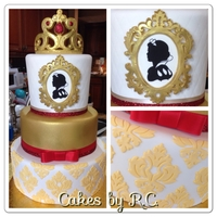 Snow White Inspired Cake Snow white inspired cake, gold airbrush, damask and gold tiara.I created the silicone mold to create this frame.
