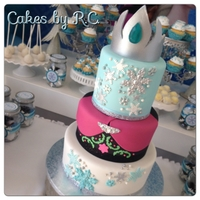 "Fronzen Inspired Cake Frozen Inspired Cake, 3 layers of 6"" tire, 2.5 layers of 8"" and 2 layers of 10 "" tier. Tiara made free hand all decor is..."