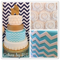 Chevron Baby Shower Cake Baby shower cake, chevron, gold, ivory, teal, roses and carriage.