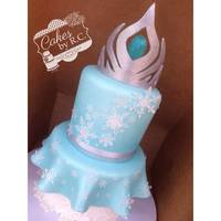 "Frozen Inspired Cake Fondant handcut tiara air brushed and covered in glitter. Double barrel top tiara 6"" and bottom tier 8"" wafer paper snow flakes"