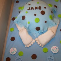 Baby Bum Cake   This is a baby bum cake I made for a shower.I made it from my sports ball pan.