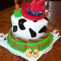 Farm Cake This is a cake I made for a little boy turning one.