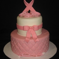 5 Years Breast Cancer Free I made this cake for a friend. Gumpaste ribbon and bow. TFL!