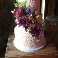 The Sugar Flowers For This Cake Were Lots Of Fun To Make They Included Dahlias Roses Blue Thistle Succulents And Lots Of Different Leav  The sugar flowers for this cake were lots of fun to make. They included dahlias, roses, blue thistle, succulents, and lots of different...