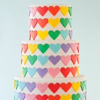 Rainbow Heart Wedding Cake   Rows of fondant rainbow hearts applied very carefully to maintain the pattern! (photo by Mark Davidson)
