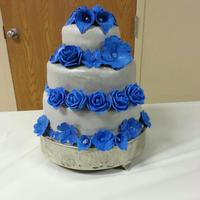 Silver And Blue Wedding Cake   Silver and Blue Wedding Cake