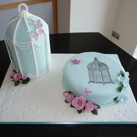 A Bird In The Hand! 80th birthday cake for a dear friend. Cake dummy used for the birdcage. Lindy Smith's birdcage stencil on the main cake.