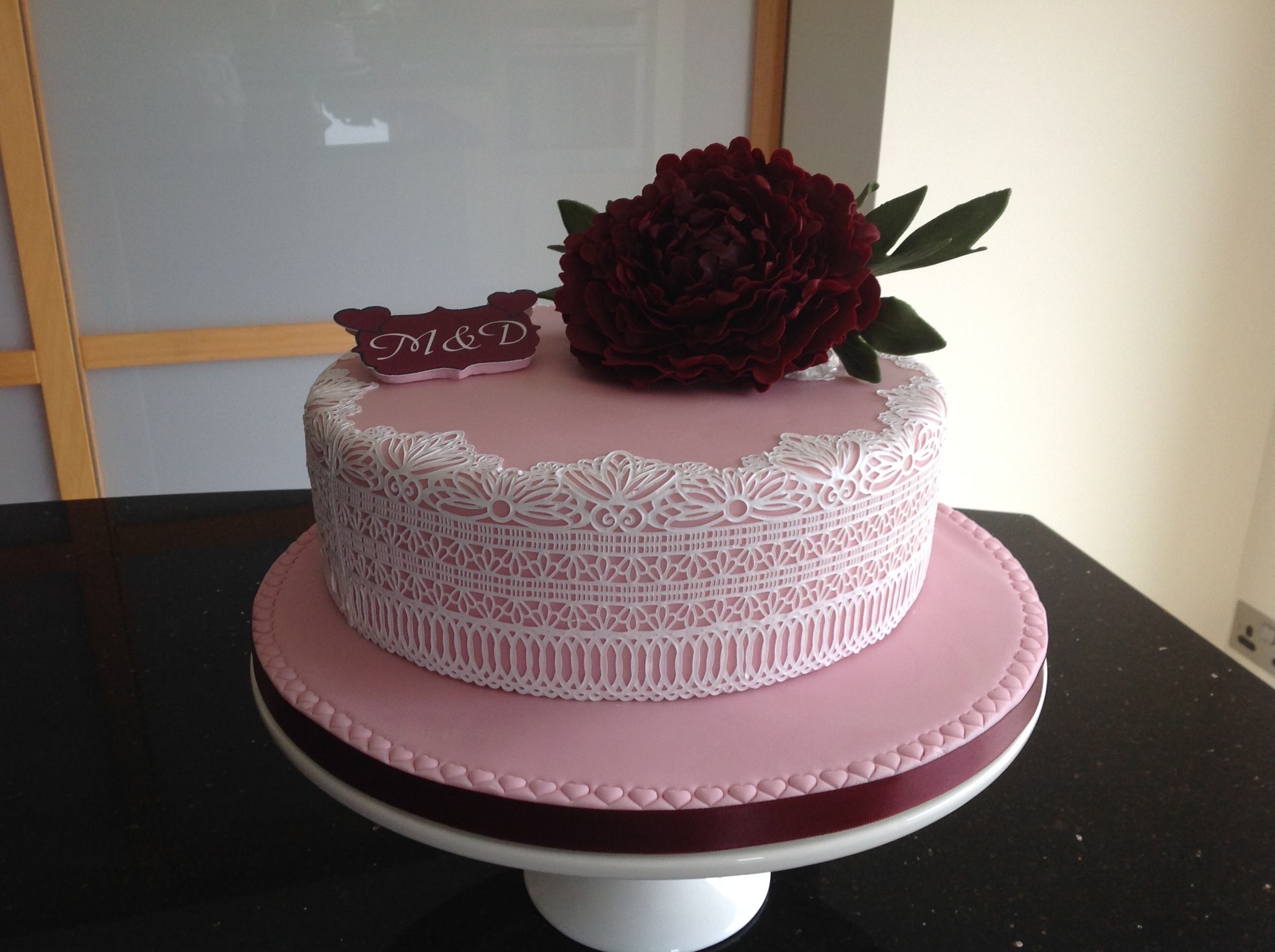 Peony With Cake Lace Ruby wedding anniversary cake.First try with Cake Lace and looking forward to playing with it some more. This was the Serenity Lace Mat by...