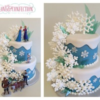 Frozen An original cake design by Veronica Arthur. Royal icing snowflakes. Isomalt ice shards.