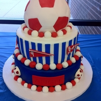 3D Tiered Soccer Ball Cake 3 tiered soccer ball cake in royal blue, red, & white with 3D soccer ball for top tier. Bottom 2 tiers are smoothed buttercream icing...