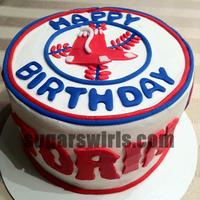 Boston Red Sox Smash Cake Butter cream iced with fondant decorations