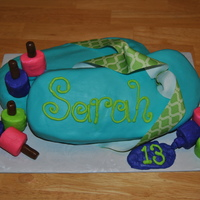 Flip Flop Birthday Cake mmffrosting covered marshmallows for the nail polish, with tootsie rolls for the tops