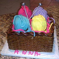Basket Of Yarn 91St Birthday Cake red velvet cake with cream cheese filling and cream cheese buttercream frosting. Yarn, knitting needles, and rope boarder in fondant. TFL...
