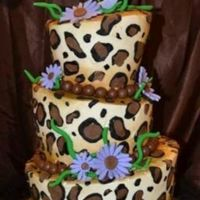 Hannah's 9 Cheetah Topsy Turvy Cake   butter cream frosting, fondant accents.