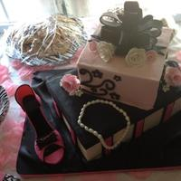 Shoebox Bridal Shower Cake *Butter cream fondant accents. She is fondant/gumpaste mix. TFL