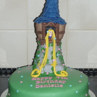 Rapunzel Tower Cake Base is chocolate cake with chocolate BC and the tower is RCT