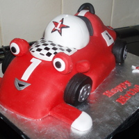 Roary The Race Car Cake hand carved vanilla cake covered with fondant