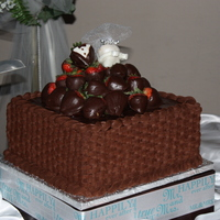 "Chocolate Basketweave This is a 10"" Chocolate fude brownie cake filled with chocolate buttercream, chocolate fudge frosting, and chocolate ganache. I put..."