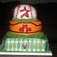 Houston Sports!! I made this for my husband's 30th birthday. He really loves sports, so I decided to make a cake that our team logos on it. I h ad alot...