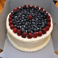 Berry Birthday Cake   Vanilla cake with Blueberries and raspberries