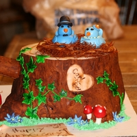 Tree Stump Cake tree stump cake with birds