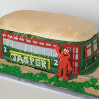 New Orleans Streetcar Streetcar cake done for a little New Orleans boy that loves the streetcar and Elmo, of course!
