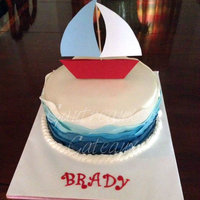 Sail Boat! Sail boat! Cake topper is paper made by Brady's mom as this was a special favor, last minute fit in.