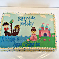 Pirate And Princess Twin Birthday Cake done to match invitations with fondant and modeling chocolate