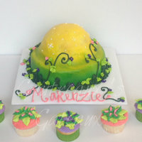 Tinkberbell Base This cake served as a base for the brithday girl's favorite tinkerbell and the cupcakes as a base for each guest to receive a mini...