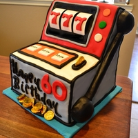 "Slot Machine Cake This is 4 10"" square cakes - 3 layers on the bottom and 1 cut into three sections for top part. All fondant except the white part of..."