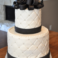 Black & Silver Wedding Shower This is done in all fondant, except for silver beads and silver rhinestones.