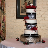 Damask Ribbon Wedding Cake