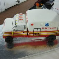 Ambulance Cake Grooms cake for an emt. I lost at least 3 nights of sleep for this. My FIRST cake that I charged for. omg.