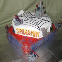 Spiderman Brthday Cake I was testing out the spray colors and made a spiderman cake for a friend.