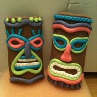 Fondant Tiki Masks These will be going on top of the Luau cake I'm making this week for my daughter's 7th birthday.