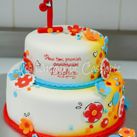 Colorful Cake For First Birthday
