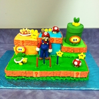 Super Msrio Brothers Cake Super Mario Brothers cake. ALl figures are fondant.