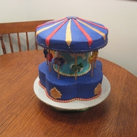 Carousel Baby Shower Cake Purple Red & Gold Carousel