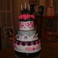 "Black, White And Pink French Birthday Cake This was a birthday cake for a friend. It is ""pink velvet"" with cream cheese filling and vanilla buttercream. PInk gems are..."