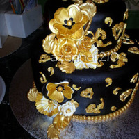 Black And Gold Birthday Cake The Cake It Self Was Red Velvet With Cream Cheese Filling Black and gold birthday cake. The cake it self was red velvet with cream cheese filling