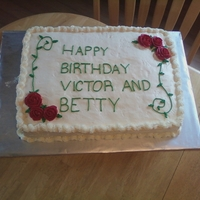 Birthday Bottom layer yellow; top layer chocolate 18x26. SMBC icing. Really unhappy with the 'R' in Victor. Didn't realize how awful...